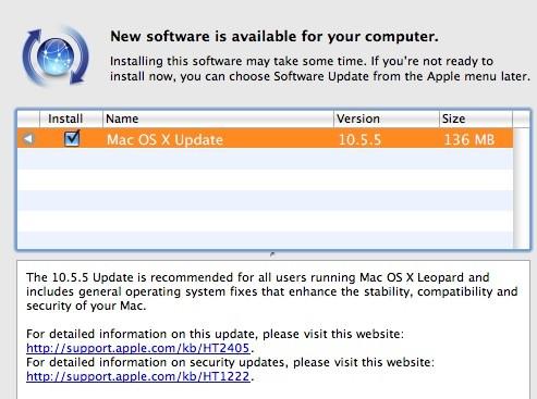 Διαθέσιμο για κατέβασμα το OS X 10.5.5 update