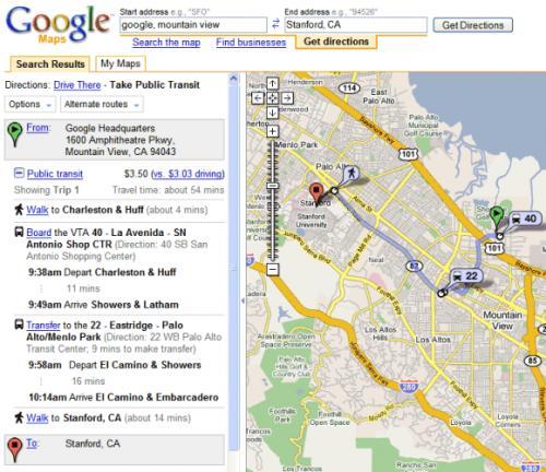 Πληροφορίες για μεταφορικά μέσα στο Google Maps