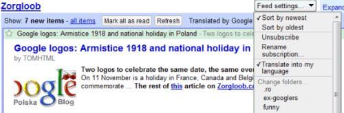 Αυτόματες μεταφράσεις στο Google Reader